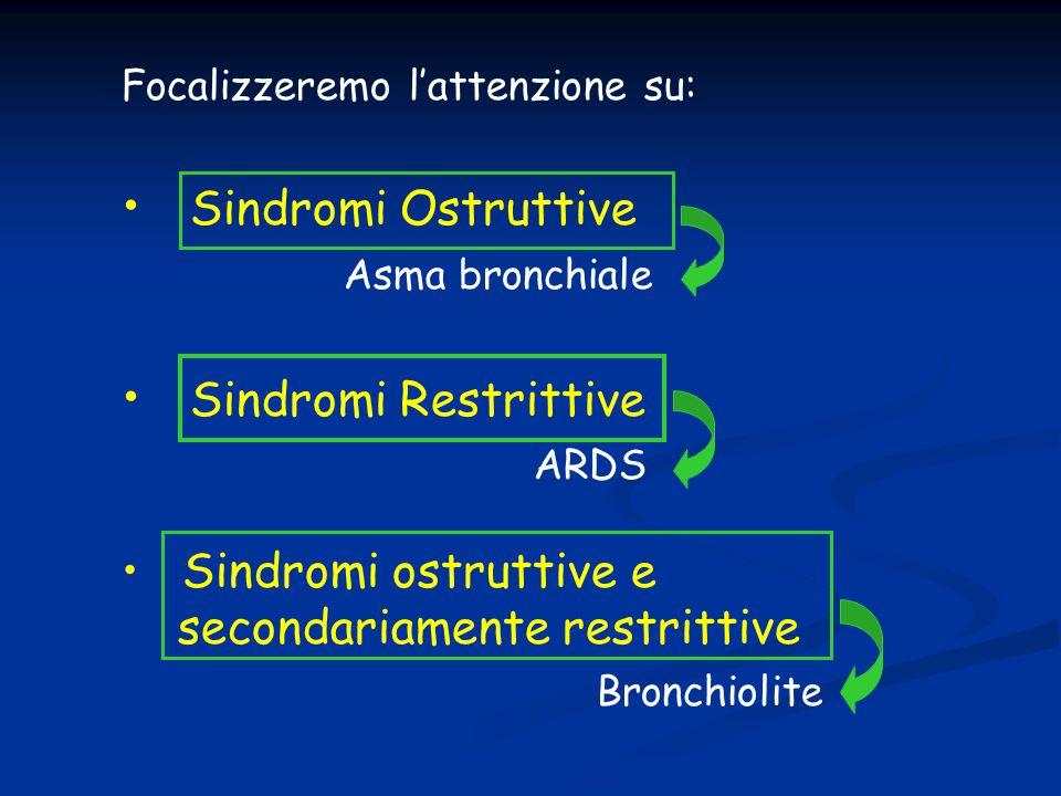 Focalizzeremo l'attenzione su: Sindromi Ostruttive Asma bronchiale Sindromi Restrittive ARDS Sindromi ostruttive e secondariamente restrittive Bronchi