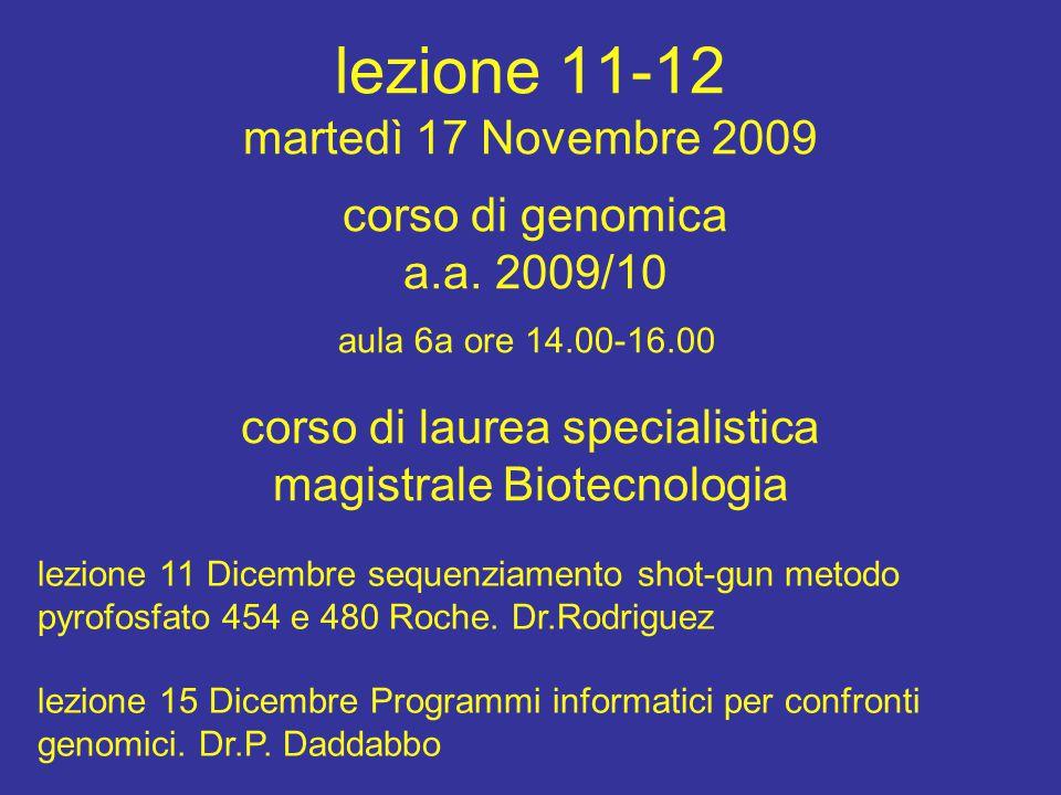 lezione 11-12 martedì 17 Novembre 2009 corso di laurea specialistica magistrale Biotecnologia aula 6a ore 14.00-16.00 corso di genomica a.a.
