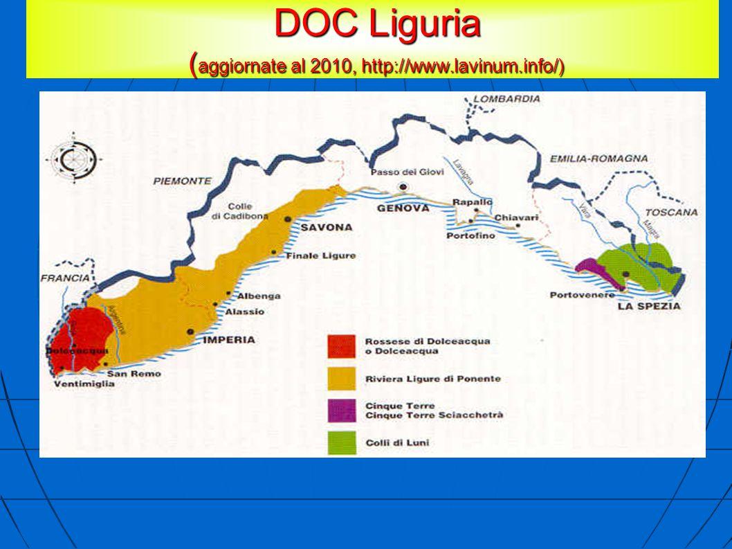 DOC Liguria ( aggiornate al 2010, http://www.lavinum.info/) DOC Liguria ( aggiornate al 2010, http://www.lavinum.info/)