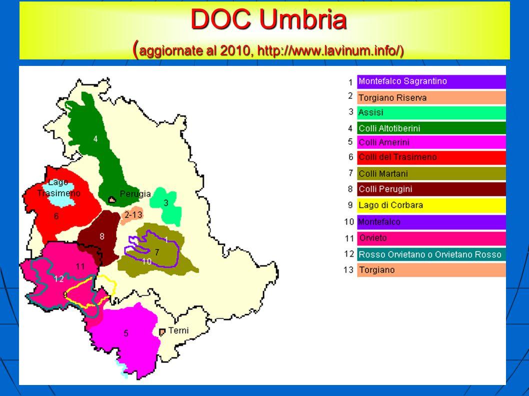 DOC Umbria ( aggiornate al 2010, http://www.lavinum.info/) DOC Umbria ( aggiornate al 2010, http://www.lavinum.info/)