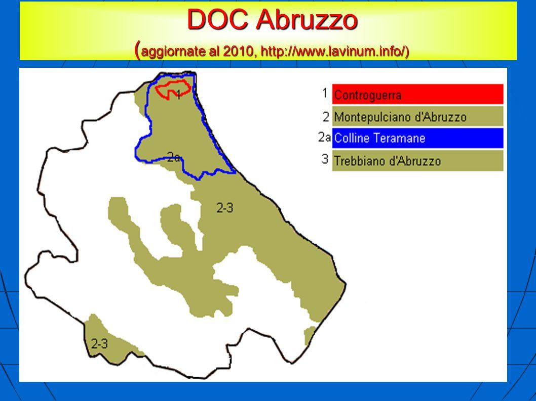 DOC Abruzzo ( aggiornate al 2010, http://www.lavinum.info/) DOC Abruzzo ( aggiornate al 2010, http://www.lavinum.info/)