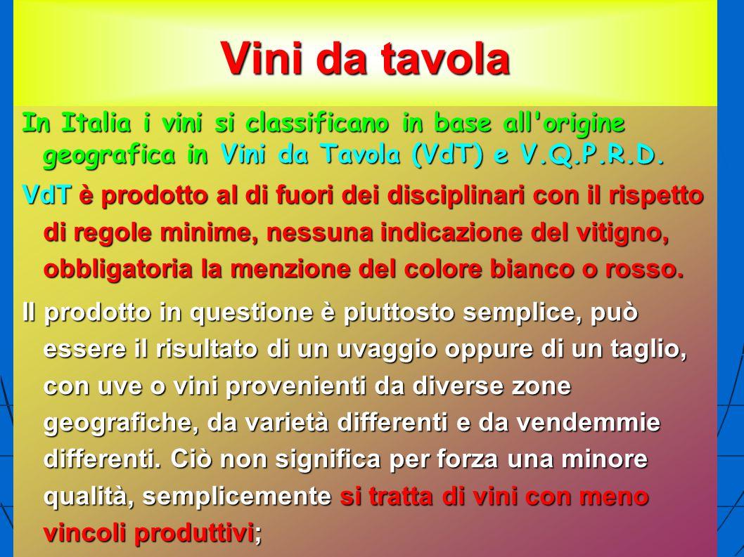 Vini da tavola In Italia i vini si classificano in base all'origine geografica in Vini da Tavola (VdT) e V.Q.P.R.D. VdT è prodotto al di fuori dei dis