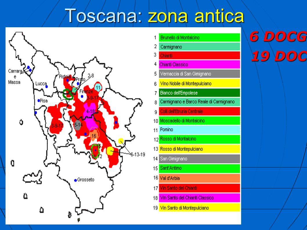 Toscana: zona antica 6 DOCG 19 DOC
