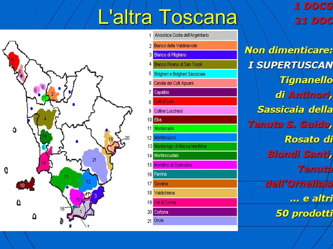 L'altra Toscana 1 DOCG 21 DOC Non dimenticare: I SUPERTUSCAN Tignanello di Antinori, Sassicaia della Tenuta S. Guido, Rosato di Biondi Santi, Tenutade