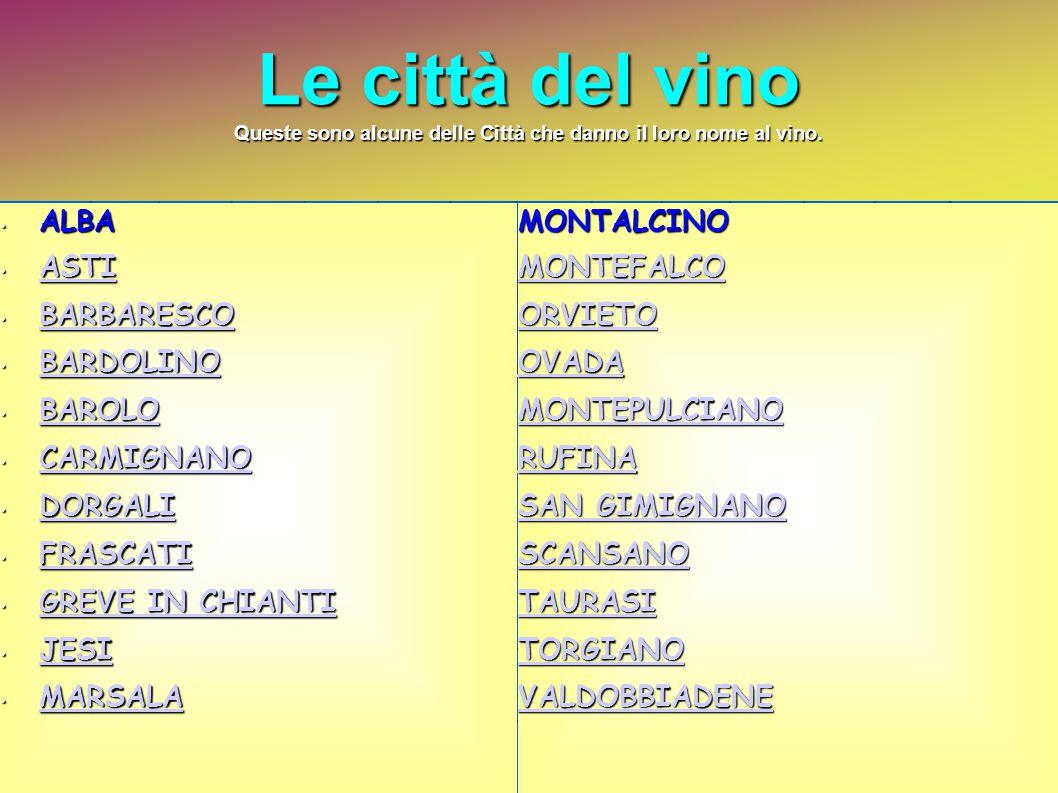 Le città del vino Queste sono alcune delle Città che danno il loro nome al vino. ALBA ALBA ASTI ASTI ASTI BARBARESCO BARBARESCO BARBARESCO BARDOLINO B