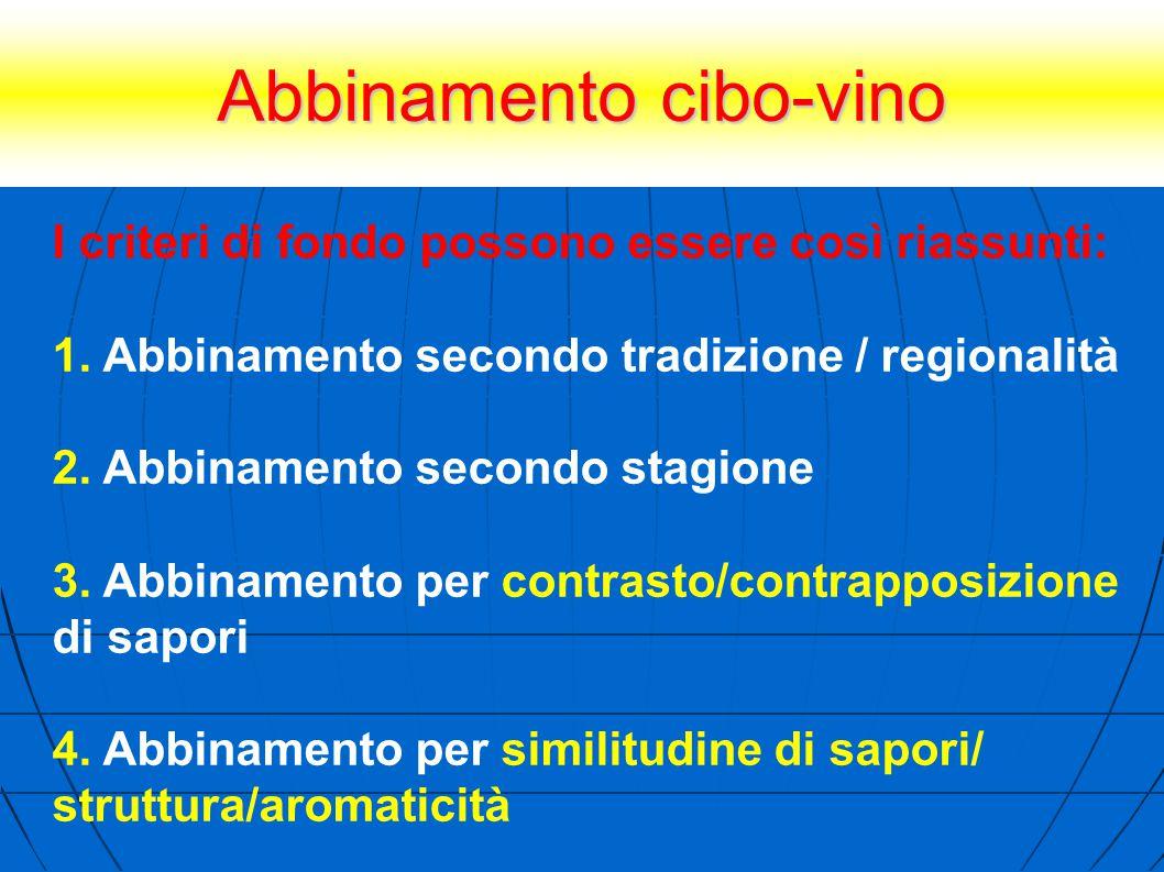 Abbinamento cibo-vino I criteri di fondo possono essere così riassunti: 1. Abbinamento secondo tradizione / regionalità 2. Abbinamento secondo stagion