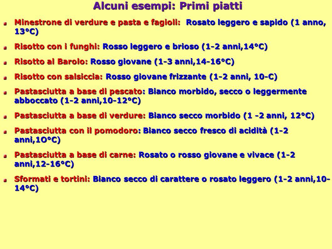 41 Alcuni esempi: Primi piatti Minestrone di verdure e pasta e fagioli: Rosato leggero e sapido (1 anno, 13°C) Risotto con i funghi: Rosso leggero e brioso (1-2 anni,14°C) Risotto al Barolo: Rosso giovane (1-3 anni,14-16°C) Risotto con salsiccia: Rosso giovane frizzante (1-2 anni, 10-C) Pastasciutta a base di pescato: Bianco morbido, secco o leggermente abboccato (1-2 anni,10-12°C) Pastasciutta a base di verdure: Bianco secco morbido (1 -2 anni, 12°C) Pastasciutta con il pomodoro: Bianco secco fresco di acidità (1-2 anni,1O°C) Pastasciutta a base di carne: Rosato o rosso giovane e vivace (1-2 anni,12-16°C) Sformati e tortini: Bianco secco di carattere o rosato leggero (1-2 anni,10- 14°C)