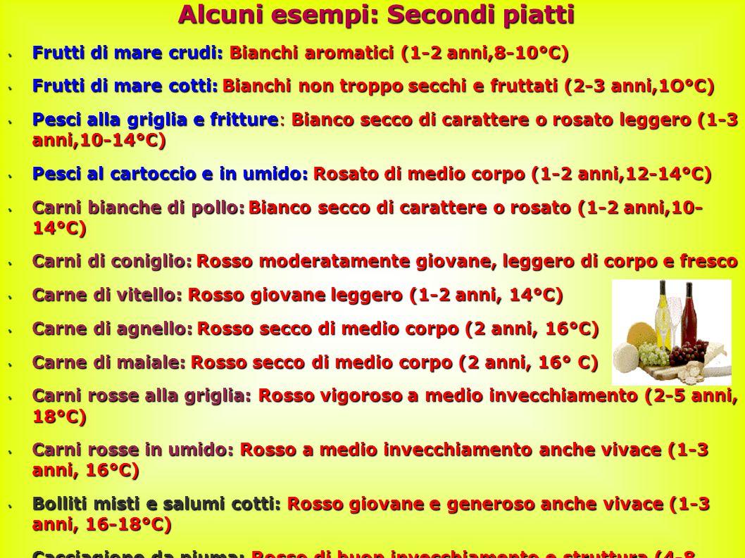 42 Alcuni esempi: Secondi piatti Frutti di mare crudi: Bianchi aromatici (1-2 anni,8-10°C) Frutti di mare crudi: Bianchi aromatici (1-2 anni,8-10°C) Frutti di mare cotti: Bianchi non troppo secchi e fruttati (2-3 anni,1O°C) Frutti di mare cotti: Bianchi non troppo secchi e fruttati (2-3 anni,1O°C) Pesci alla griglia e fritture: Bianco secco di carattere o rosato leggero (1-3 anni,10-14°C) Pesci alla griglia e fritture: Bianco secco di carattere o rosato leggero (1-3 anni,10-14°C) Pesci al cartoccio e in umido: Rosato di medio corpo (1-2 anni,12-14°C) Pesci al cartoccio e in umido: Rosato di medio corpo (1-2 anni,12-14°C) Carni bianche di pollo: Bianco secco di carattere o rosato (1-2 anni,10- 14°C) Carni bianche di pollo: Bianco secco di carattere o rosato (1-2 anni,10- 14°C) Carni di coniglio: Rosso moderatamente giovane, leggero di corpo e fresco Carni di coniglio: Rosso moderatamente giovane, leggero di corpo e fresco Carne di vitello: Rosso giovane leggero (1-2 anni, 14°C) Carne di vitello: Rosso giovane leggero (1-2 anni, 14°C) Carne di agnello: Rosso secco di medio corpo (2 anni, 16°C) Carne di agnello: Rosso secco di medio corpo (2 anni, 16°C) Carne di maiale: Rosso secco di medio corpo (2 anni, 16° C) Carne di maiale: Rosso secco di medio corpo (2 anni, 16° C) Carni rosse alla griglia: Rosso vigoroso a medio invecchiamento (2-5 anni, 18°C) Carni rosse alla griglia: Rosso vigoroso a medio invecchiamento (2-5 anni, 18°C) Carni rosse in umido: Rosso a medio invecchiamento anche vivace (1-3 anni, 16°C) Carni rosse in umido: Rosso a medio invecchiamento anche vivace (1-3 anni, 16°C) Bolliti misti e salumi cotti: Rosso giovane e generoso anche vivace (1-3 anni, 16-18°C) Bolliti misti e salumi cotti: Rosso giovane e generoso anche vivace (1-3 anni, 16-18°C) Cacciagione da piuma: Rosso di buon invecchiamento e struttura (4-8 anni, I8°C) Cacciagione da piuma: Rosso di buon invecchiamento e struttura (4-8 anni, I8°C)
