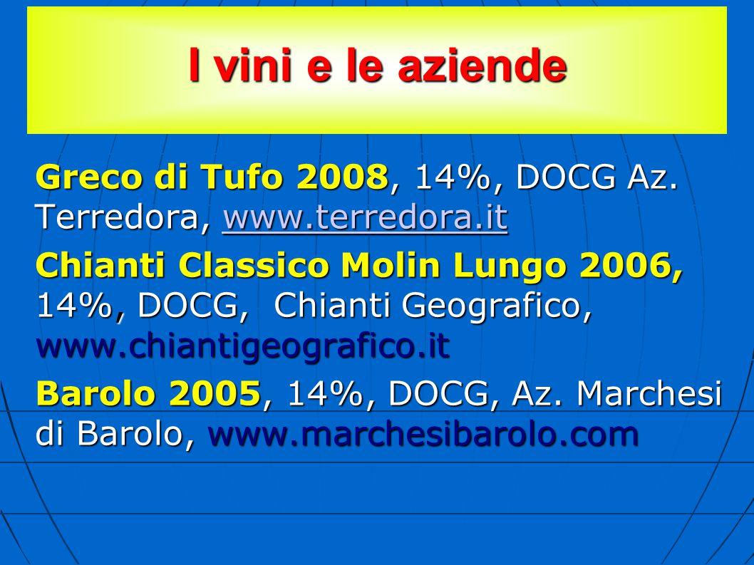 I vini e le aziende Greco di Tufo 2008, 14%, DOCG Az. Terredora, www.terredora.it www.terredora.it Chianti Classico Molin Lungo 2006, 14%, DOCG, Chian