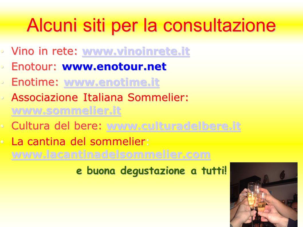Alcuni siti per la consultazione Vino in rete: www.vinoinrete.it Vino in rete: www.vinoinrete.itwww.vinoinrete.it Enotour: www.enotour.net Enotour: www.enotour.net Enotime: www.enotime.it Enotime: www.enotime.itwww.enotime.it Associazione Italiana Sommelier: www.sommelier.it Associazione Italiana Sommelier: www.sommelier.it www.sommelier.it Cultura del bere: www.culturadelbere.it Cultura del bere: www.culturadelbere.itwww.culturadelbere.it La cantina del sommelier: www.lacantinadelsommelier.com La cantina del sommelier: www.lacantinadelsommelier.com www.lacantinadelsommelier.com e buona degustazione a tutti!