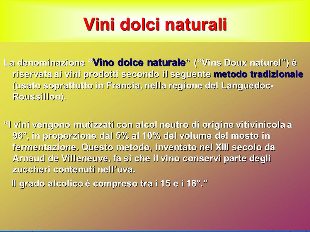 Vini dolci naturali La denominazione Vino dolce naturale ( Vins Doux naturel ) è riservata ai vini prodotti secondo il seguente metodo tradizionale (usato soprattutto in Francia, nella regione del Languedoc- Roussillon).