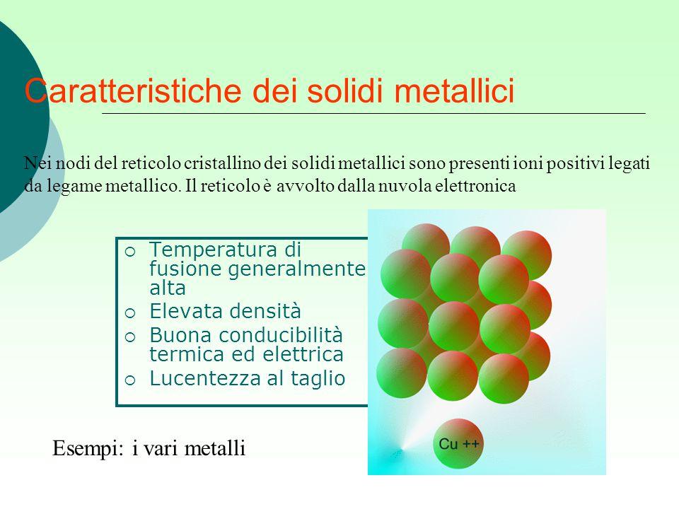 Caratteristiche dei solidi metallici  Temperatura di fusione generalmente alta  Elevata densità  Buona conducibilità termica ed elettrica  Lucente
