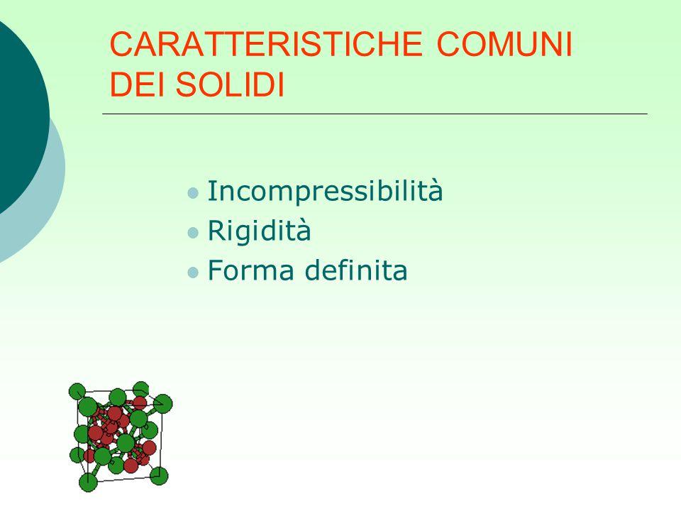 CARATTERISTICHE COMUNI DEI SOLIDI Incompressibilità Rigidità Forma definita