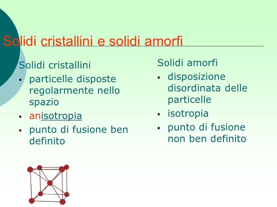 Solidi cristallini e solidi amorfi Solidi amorfi  disposizione disordinata delle particelle  isotropia  punto di fusione non ben definito Solidi cr