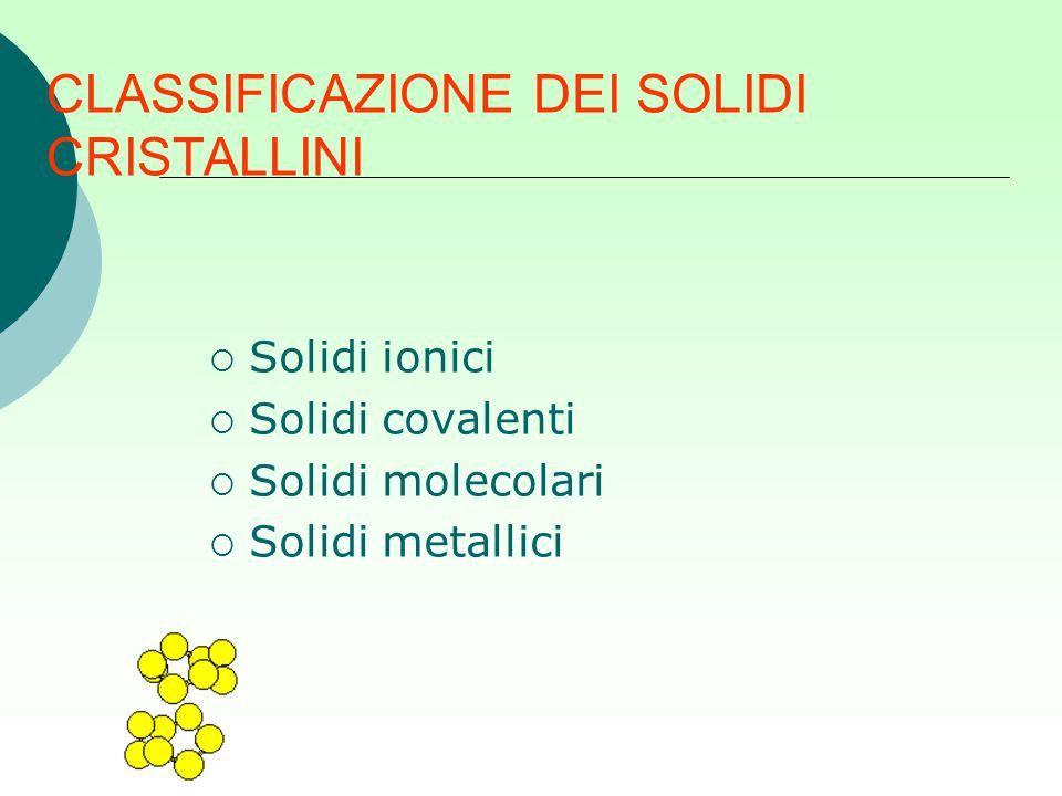 CLASSIFICAZIONE DEI SOLIDI CRISTALLINI  Solidi ionici  Solidi covalenti  Solidi molecolari  Solidi metallici