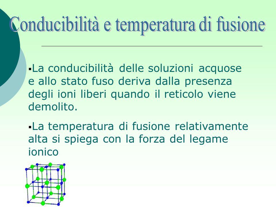  La conducibilità delle soluzioni acquose e allo stato fuso deriva dalla presenza degli ioni liberi quando il reticolo viene demolito.  La temperatu