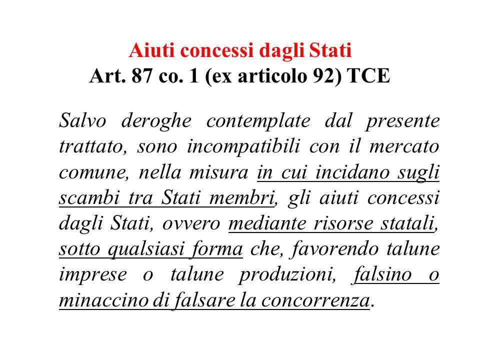 Aiuti concessi dagli Stati Art. 87 co.