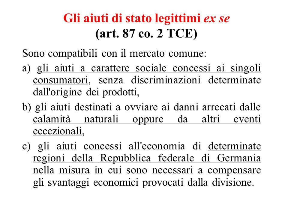 Gli aiuti di stato legittimi ex se (art. 87 co.