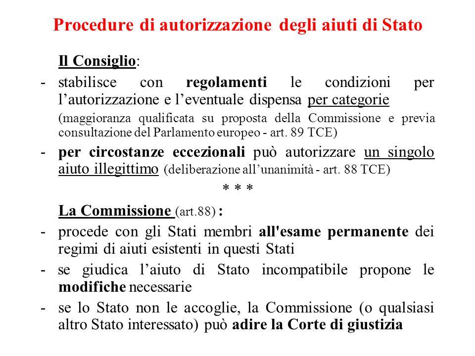 Procedure di autorizzazione degli aiuti di Stato Il Consiglio: -stabilisce con regolamenti le condizioni per l'autorizzazione e l'eventuale dispensa per categorie (maggioranza qualificata su proposta della Commissione e previa consultazione del Parlamento europeo - art.