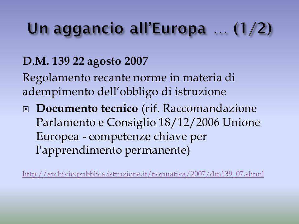 D.M. 139 22 agosto 2007 Regolamento recante norme in materia di adempimento dell'obbligo di istruzione  Documento tecnico (rif. Raccomandazione Parla