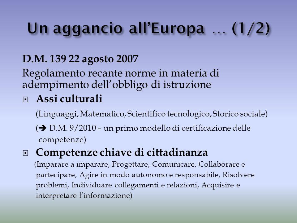 D.M. 139 22 agosto 2007 Regolamento recante norme in materia di adempimento dell'obbligo di istruzione  Assi culturali (Linguaggi, Matematico, Scient