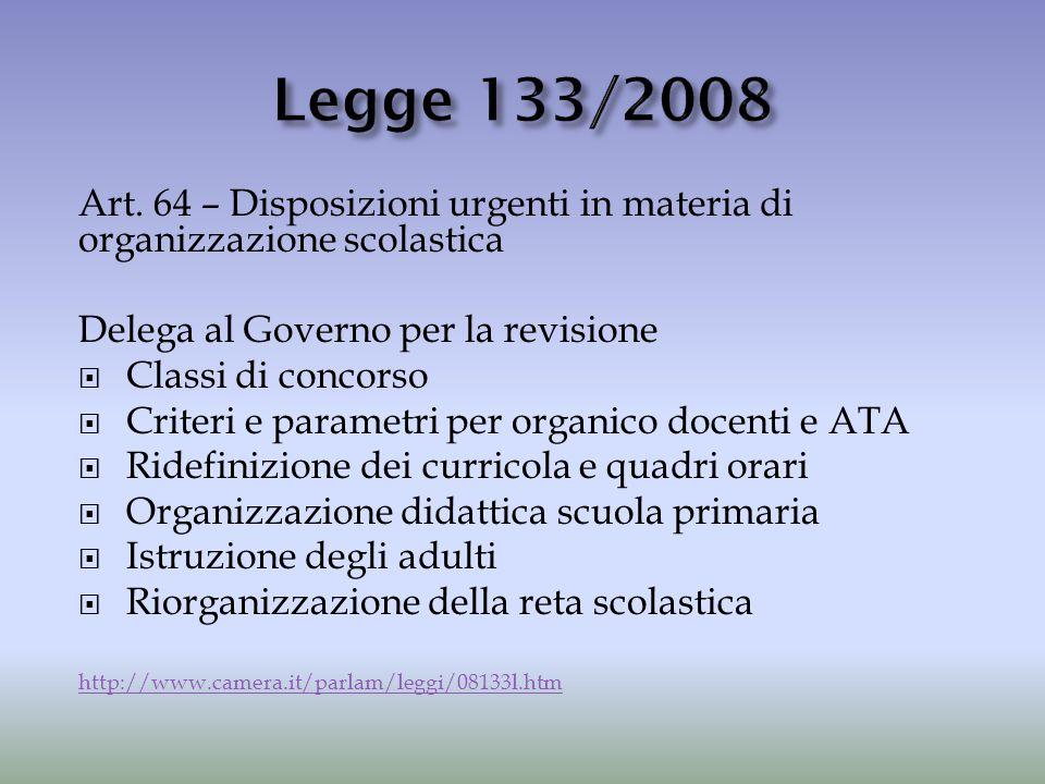 Art. 64 – Disposizioni urgenti in materia di organizzazione scolastica Delega al Governo per la revisione  Classi di concorso  Criteri e parametri p