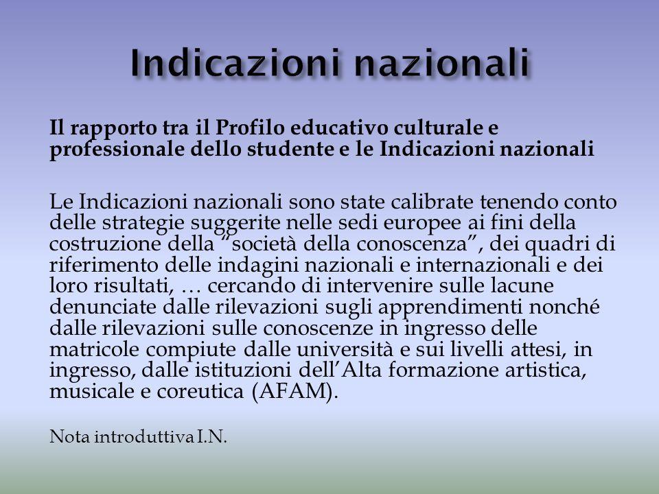 Il rapporto tra il Profilo educativo culturale e professionale dello studente e le Indicazioni nazionali Le Indicazioni nazionali sono state calibrate