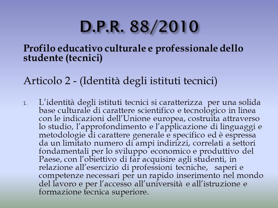 Profilo educativo culturale e professionale dello studente (tecnici) Articolo 2 - (Identità degli istituti tecnici) 1. L'identità degli istituti tecni