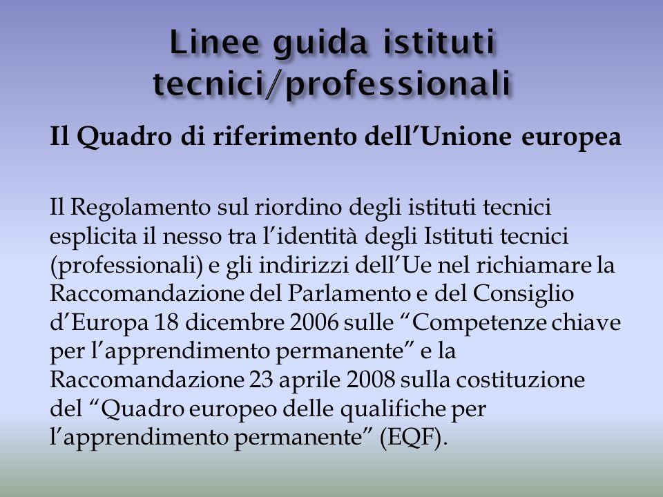 Il Quadro di riferimento dell'Unione europea Il Regolamento sul riordino degli istituti tecnici esplicita il nesso tra l'identità degli Istituti tecni