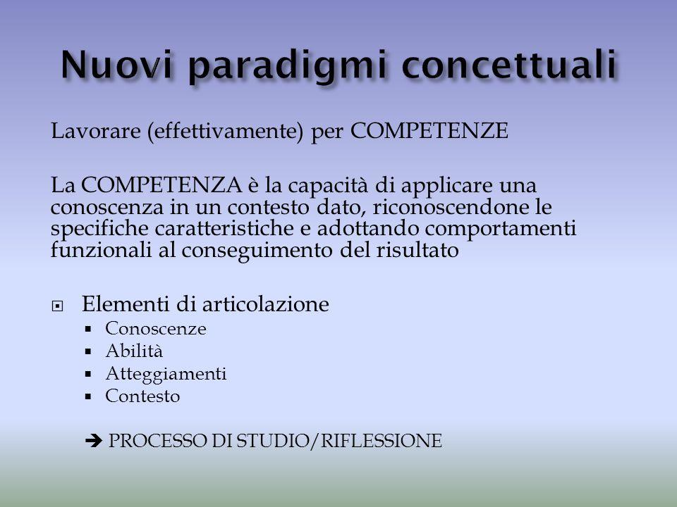 Lavorare (effettivamente) per COMPETENZE La COMPETENZA è la capacità di applicare una conoscenza in un contesto dato, riconoscendone le specifiche car