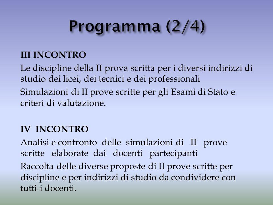 III INCONTRO Le discipline della II prova scritta per i diversi indirizzi di studio dei licei, dei tecnici e dei professionali Simulazioni di II prove