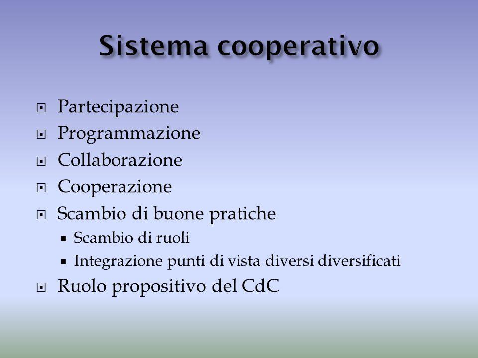  Partecipazione  Programmazione  Collaborazione  Cooperazione  Scambio di buone pratiche  Scambio di ruoli  Integrazione punti di vista diversi