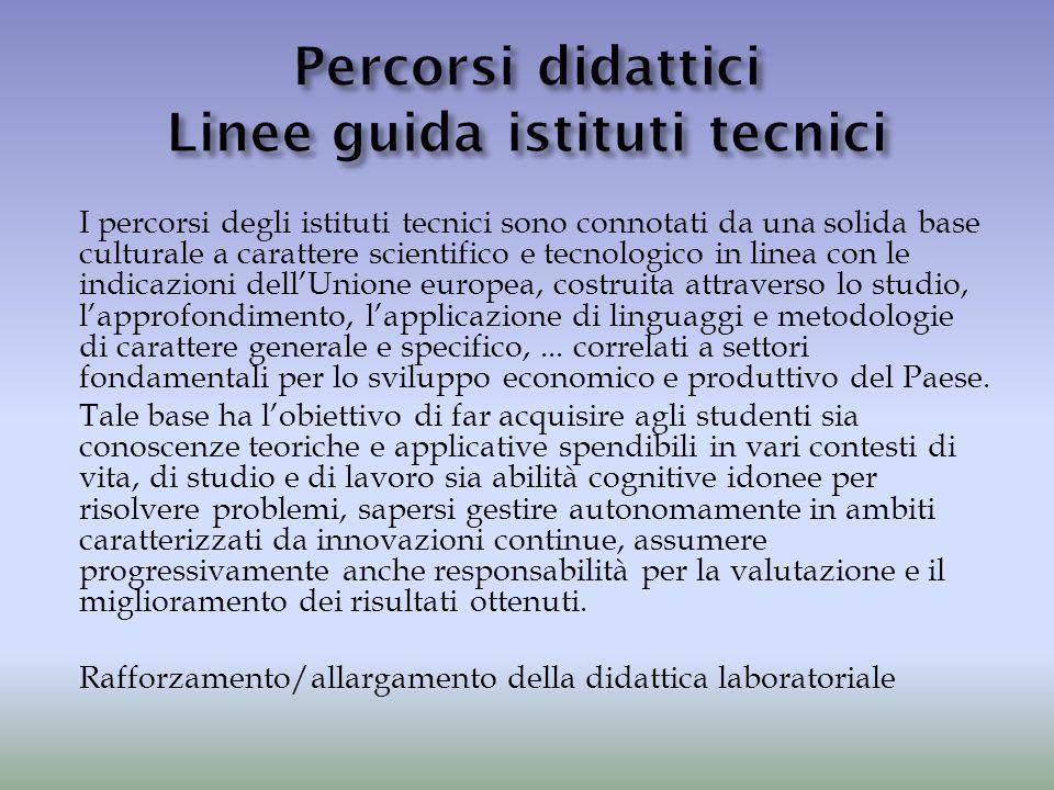 I percorsi degli istituti tecnici sono connotati da una solida base culturale a carattere scientifico e tecnologico in linea con le indicazioni dell'U