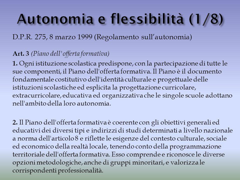 D.P.R. 275, 8 marzo 1999 (Regolamento sull'autonomia) Art. 3 (Piano dell'offerta formativa) 1. Ogni istituzione scolastica predispone, con la partecip