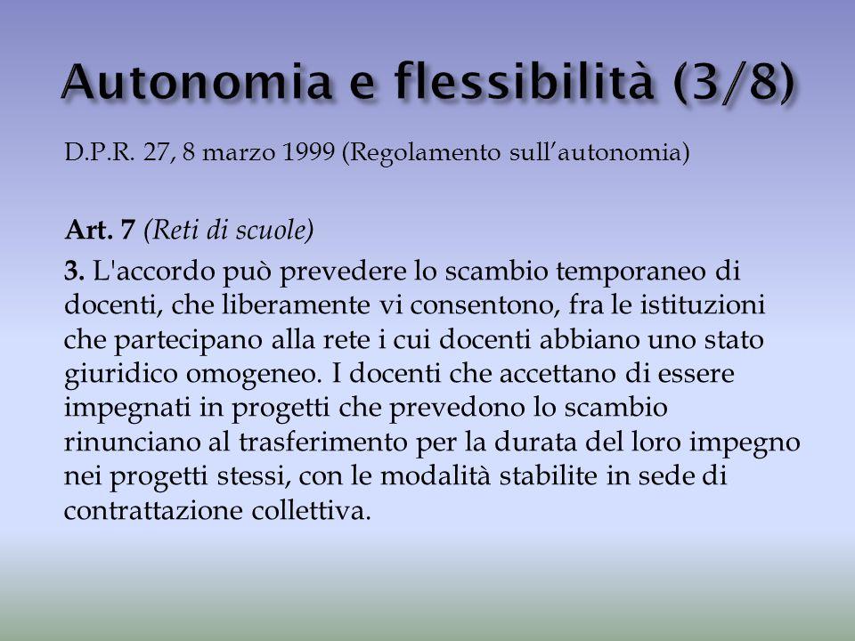 D.P.R. 27, 8 marzo 1999 (Regolamento sull'autonomia) Art. 7 (Reti di scuole) 3. L'accordo può prevedere lo scambio temporaneo di docenti, che liberame