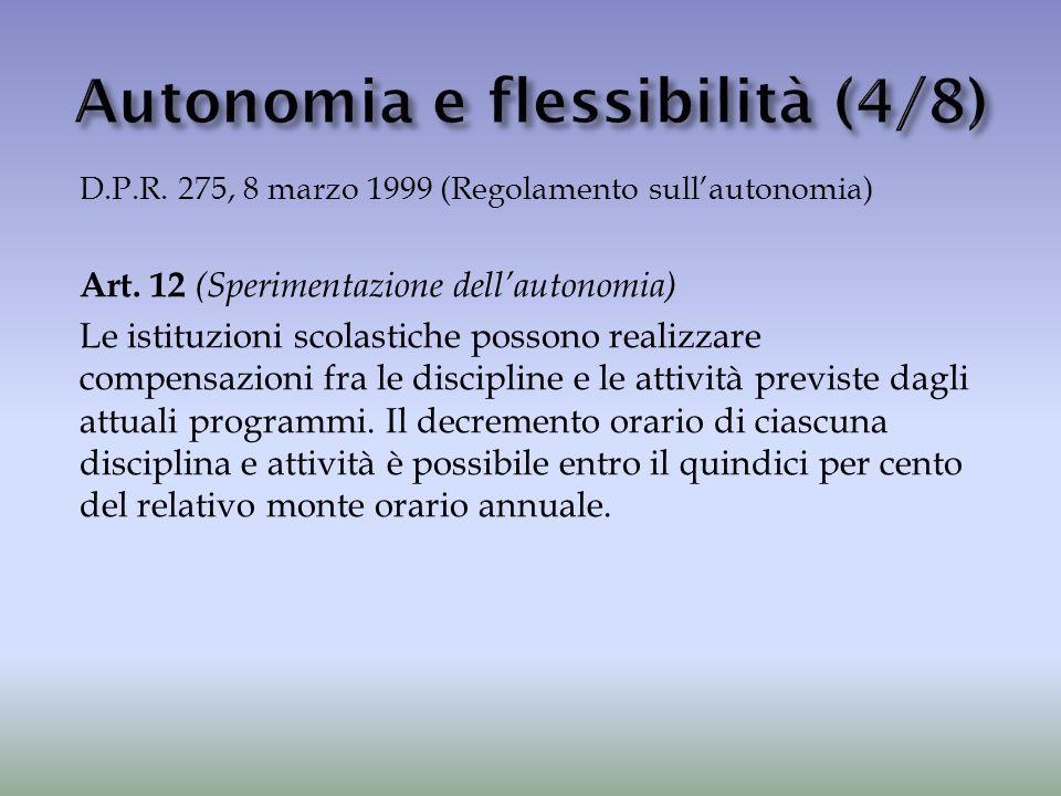 D.P.R. 275, 8 marzo 1999 (Regolamento sull'autonomia) Art. 12 (Sperimentazione dell'autonomia) Le istituzioni scolastiche possono realizzare compensaz