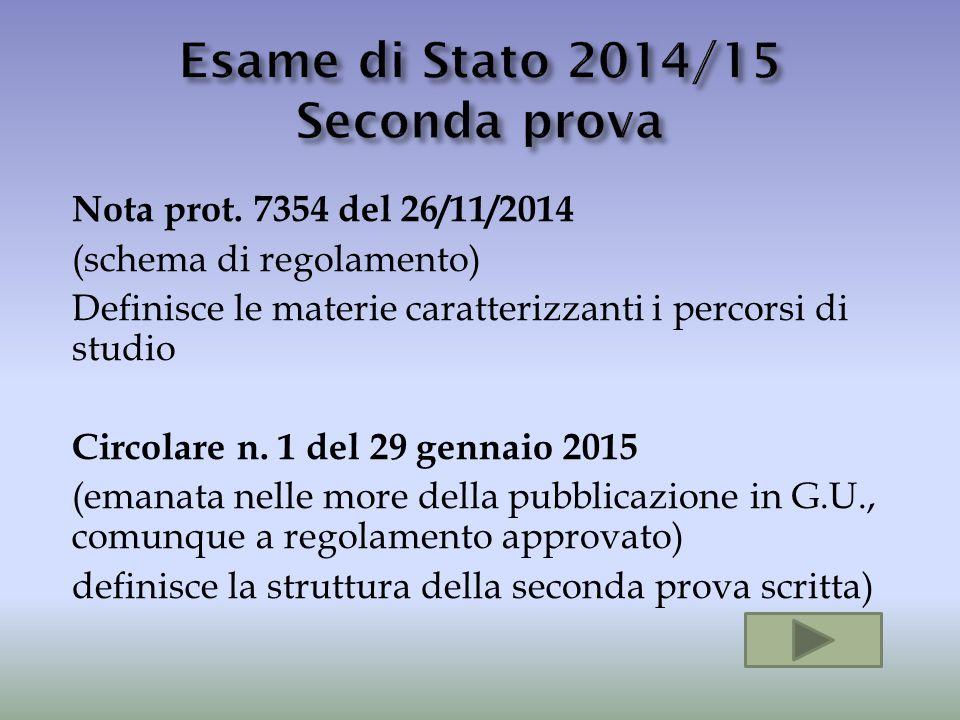 Nota prot. 7354 del 26/11/2014 (schema di regolamento) Definisce le materie caratterizzanti i percorsi di studio Circolare n. 1 del 29 gennaio 2015 (e