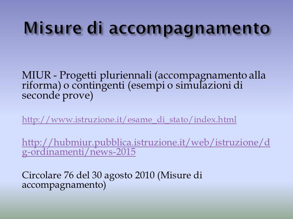 MIUR - Progetti pluriennali (accompagnamento alla riforma) o contingenti (esempi o simulazioni di seconde prove) http://www.istruzione.it/esame_di_sta