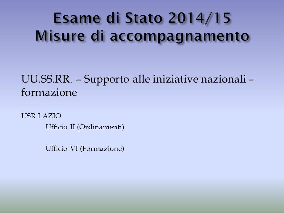 UU.SS.RR. – Supporto alle iniziative nazionali – formazione USR LAZIO Ufficio II (Ordinamenti) Ufficio VI (Formazione)