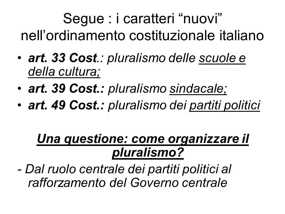 """Segue : i caratteri """"nuovi"""" nell'ordinamento costituzionale italiano art. 33 Cost.: pluralismo delle scuole e della cultura; art. 39 Cost.: pluralismo"""
