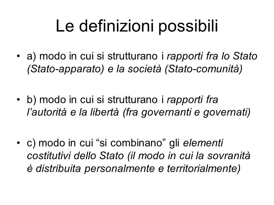 Le definizioni possibili a) modo in cui si strutturano i rapporti fra lo Stato (Stato-apparato) e la società (Stato-comunità) b) modo in cui si strutt