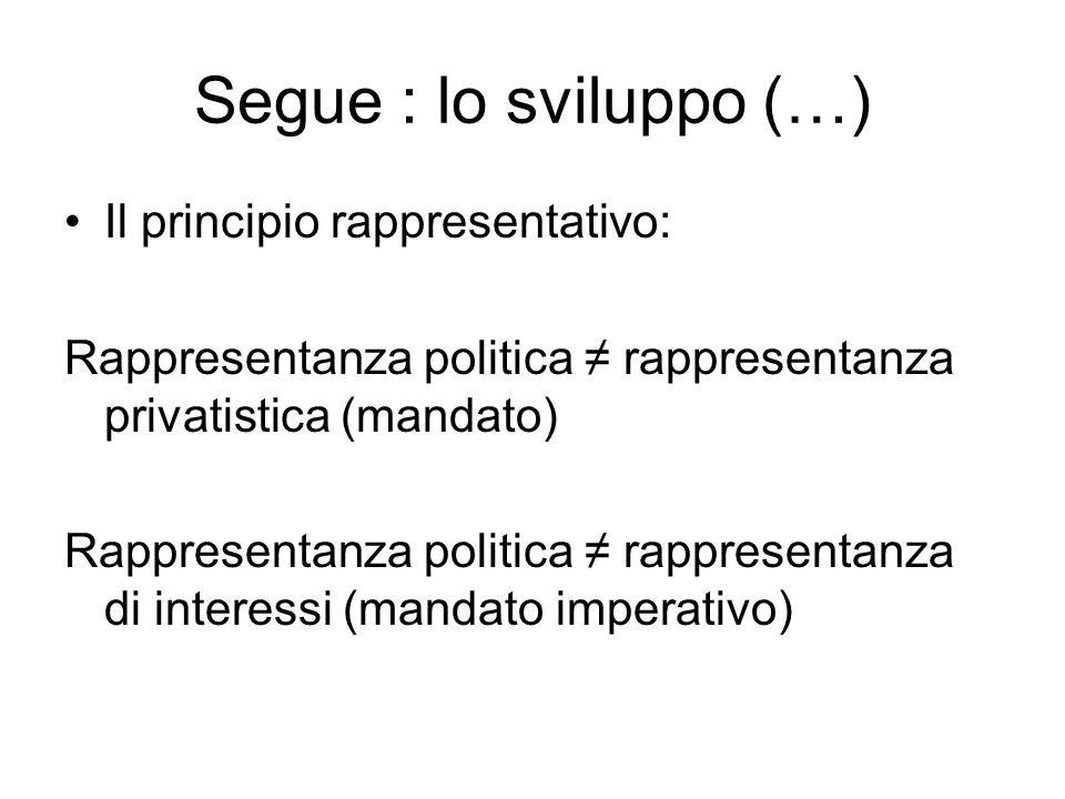 Segue : lo sviluppo (…) Il principio rappresentativo: Rappresentanza politica ≠ rappresentanza privatistica (mandato) Rappresentanza politica ≠ rappresentanza di interessi (mandato imperativo)
