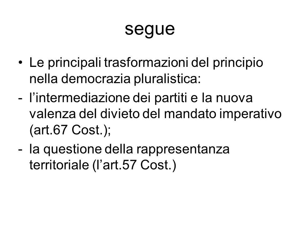 segue Le principali trasformazioni del principio nella democrazia pluralistica: -l'intermediazione dei partiti e la nuova valenza del divieto del mandato imperativo (art.67 Cost.); -la questione della rappresentanza territoriale (l'art.57 Cost.)