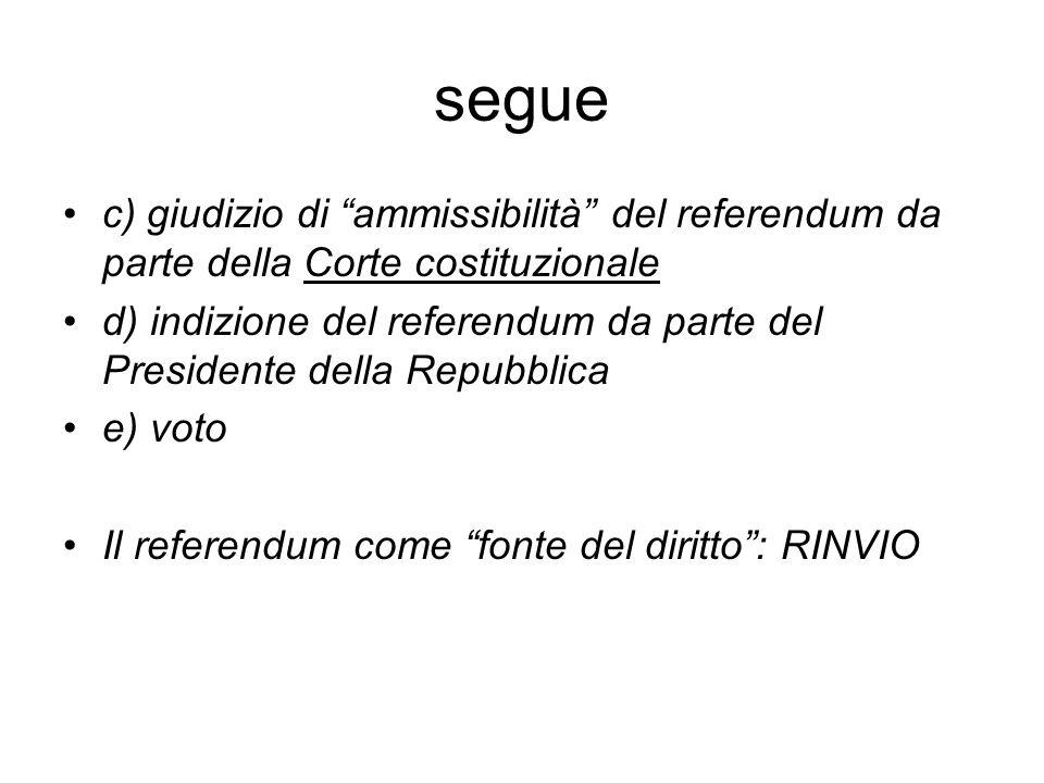 segue c) giudizio di ammissibilità del referendum da parte della Corte costituzionale d) indizione del referendum da parte del Presidente della Repubblica e) voto Il referendum come fonte del diritto : RINVIO