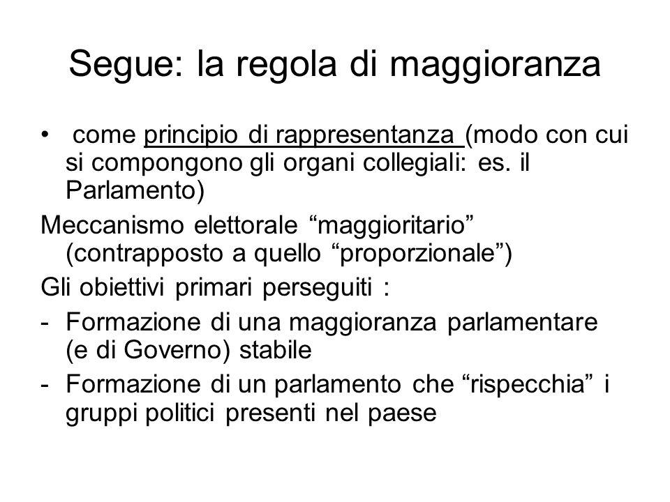 Segue: la regola di maggioranza come principio di rappresentanza (modo con cui si compongono gli organi collegiali: es. il Parlamento) Meccanismo elet