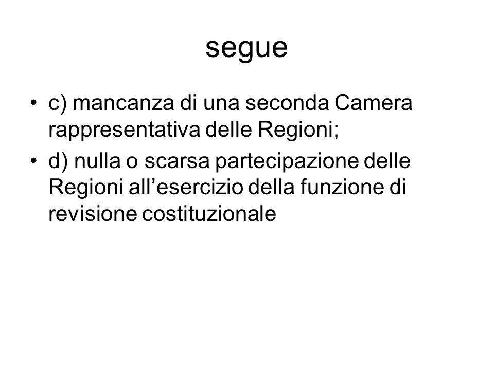 segue c) mancanza di una seconda Camera rappresentativa delle Regioni; d) nulla o scarsa partecipazione delle Regioni all'esercizio della funzione di