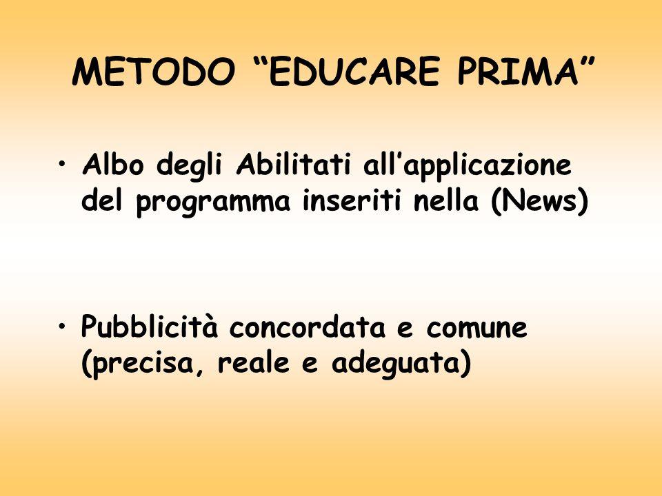 METODO EDUCARE PRIMA Albo degli Abilitati all'applicazione del programma inseriti nella (News) Pubblicità concordata e comune (precisa, reale e adeguata)
