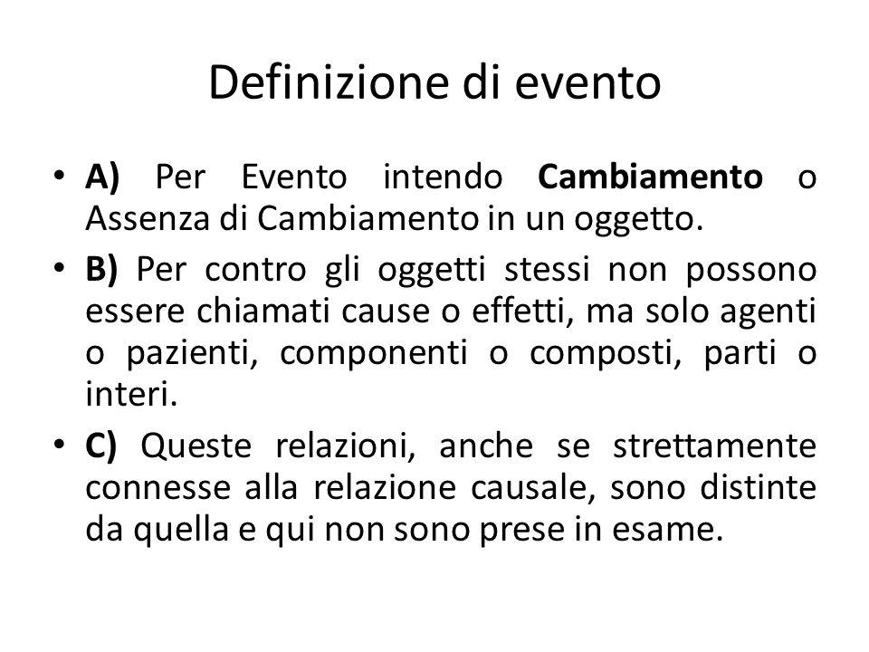 Definizione di evento A) Per Evento intendo Cambiamento o Assenza di Cambiamento in un oggetto.