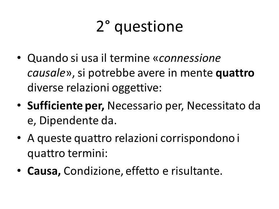 2° questione Quando si usa il termine «connessione causale», si potrebbe avere in mente quattro diverse relazioni oggettive: Sufficiente per, Necessario per, Necessitato da e, Dipendente da.