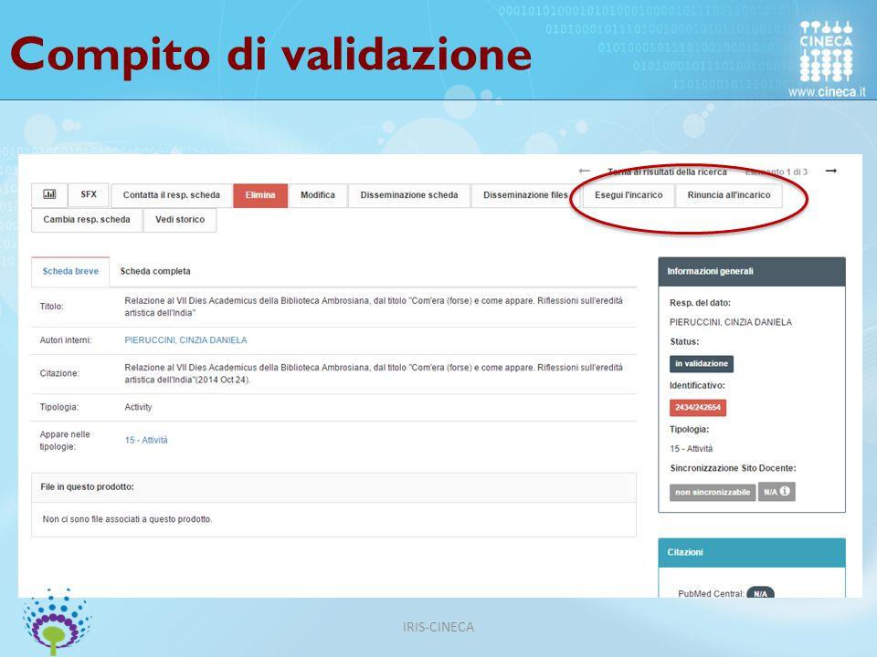 Compito di validazione IRIS-CINECA